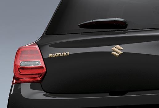 rear view of black suzuki baleno