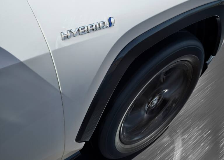 View of front wheel of Hybrid car