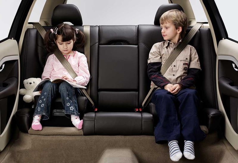 Seat belted kids in a car
